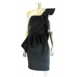 Maggy London Black Ruffle Cocktail Dress
